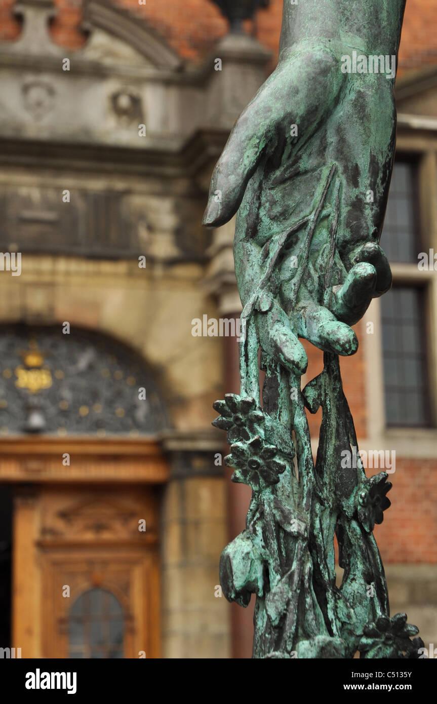 Statue of hand in Elsinore, Denmark - Stock Image