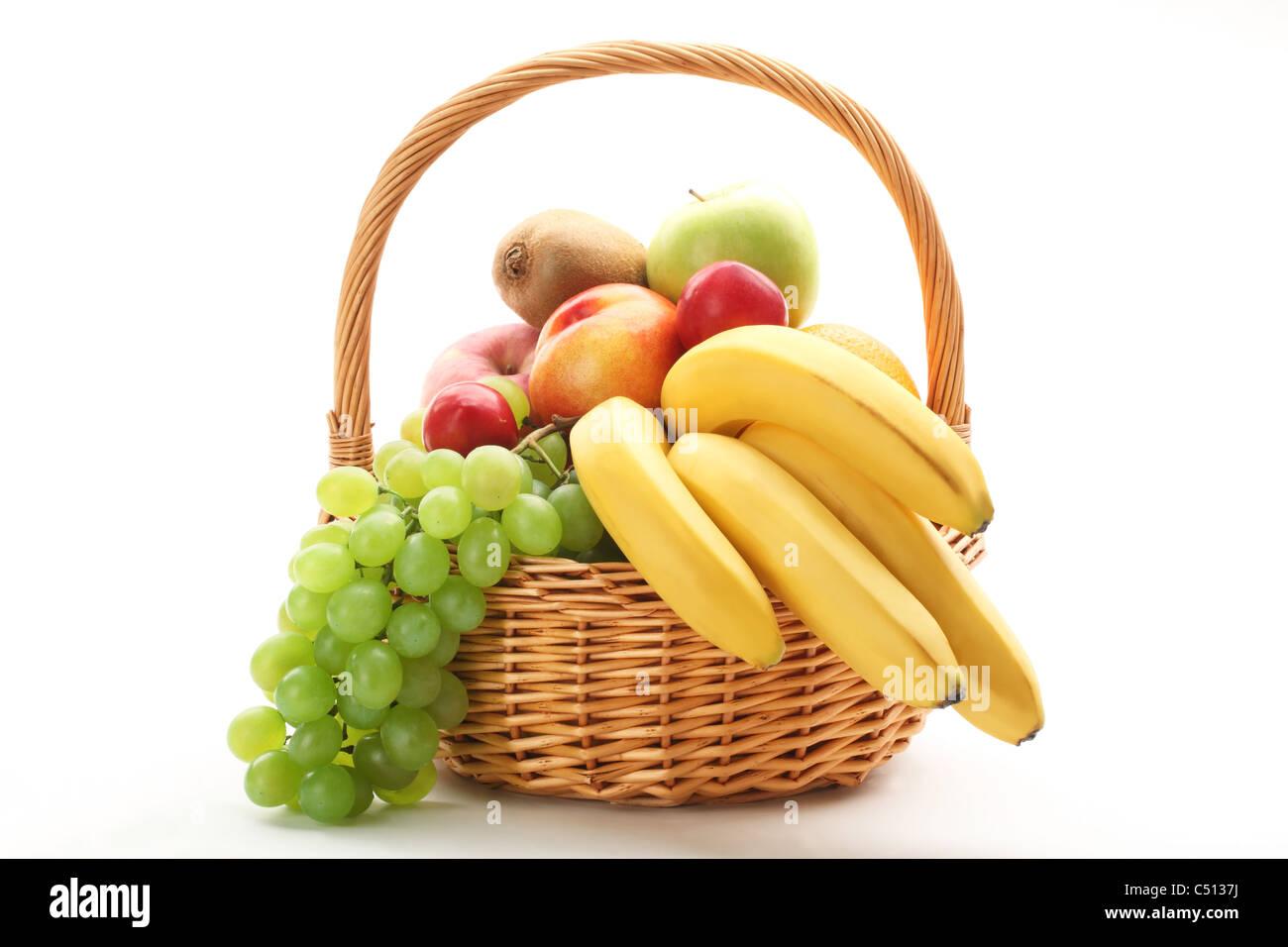 Fresh fruit in the basket Stock Photo