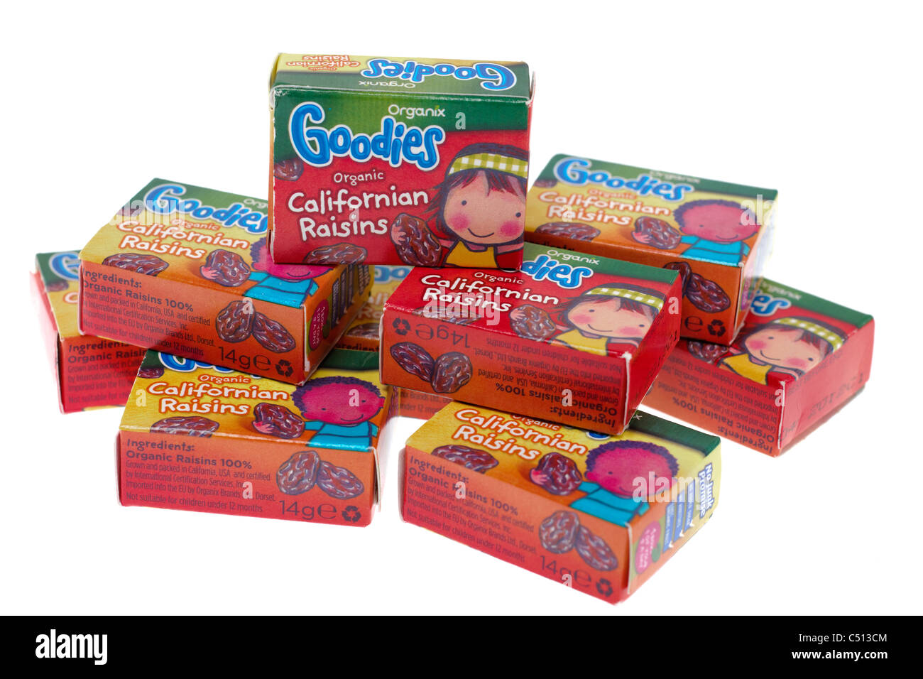 Several 14 gram boxed Organix goodies good for kids healthy treats organic Californian Raisins - Stock Image