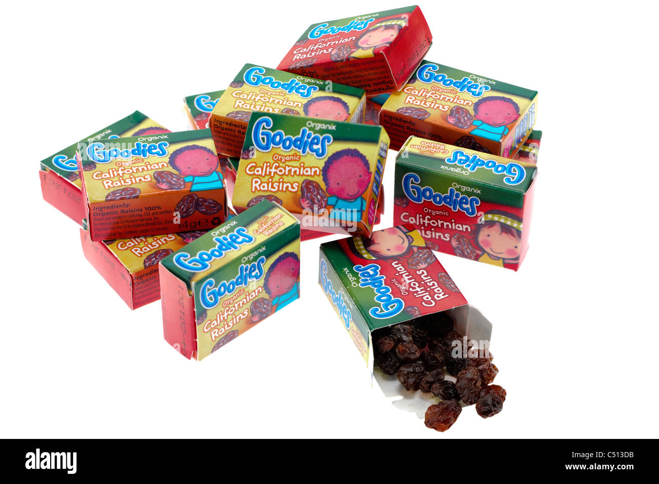 Several 14 gram boxed Organix goodies good for kids healthy treats organic Californian Raisins - Stock Image