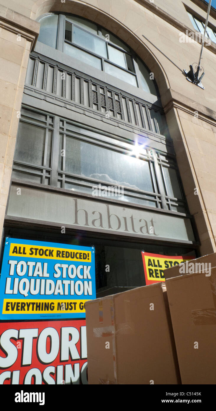 Exterior of Habitat Furniture Store and closure signs Cardiff Wales UK - Stock Image