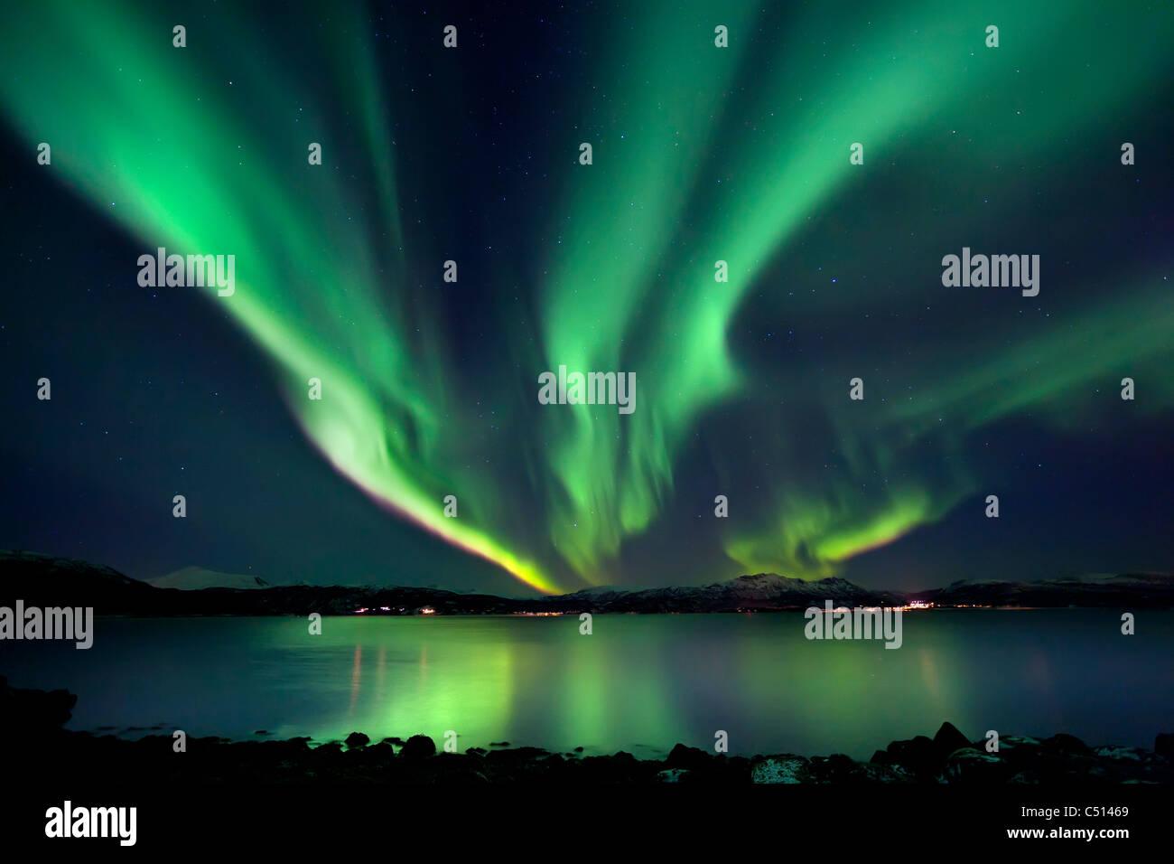 Aurora Borealis over Tjeldsundet in Troms County, Norway. - Stock Image