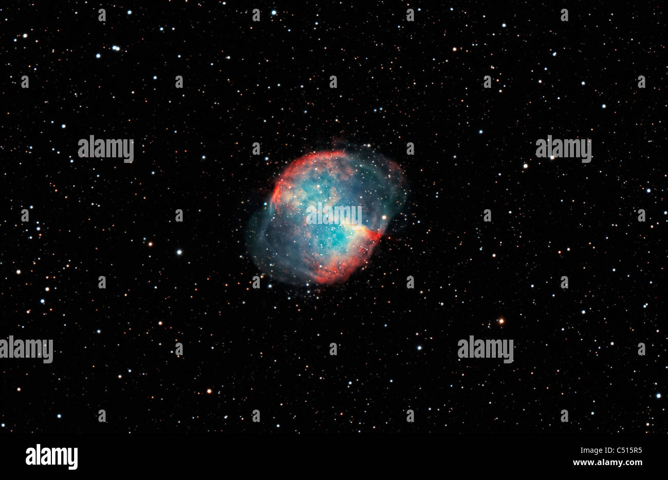 Messier 27, The Dumbbell Nebula in the constellation Vulpecula. - Stock Image
