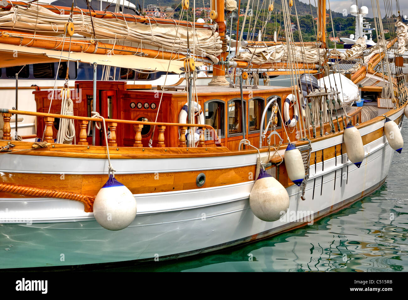 an old sailing boat in the harbor of Porto Maurizio - Imperia - Liguria - Italy - Stock Image