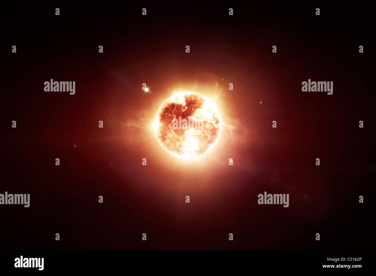 A dying star which will soon give new beginning to a black hole. A new unstoppable power rising on our eyes. Stock Photo