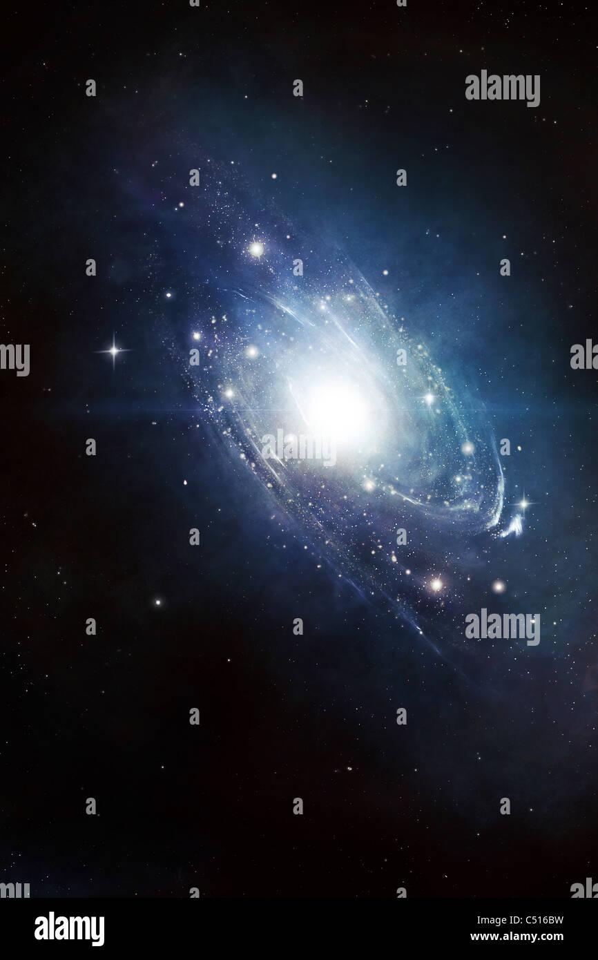 Artist's concept of a recently discovered galaxy yet to be inspected. - Stock Image