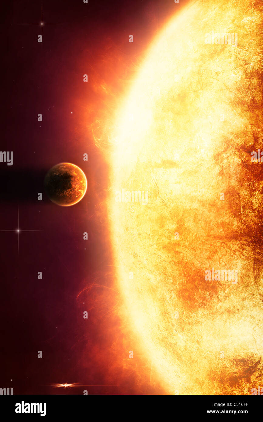 Growing Sun is about to burn nearby planet alive. - Stock Image