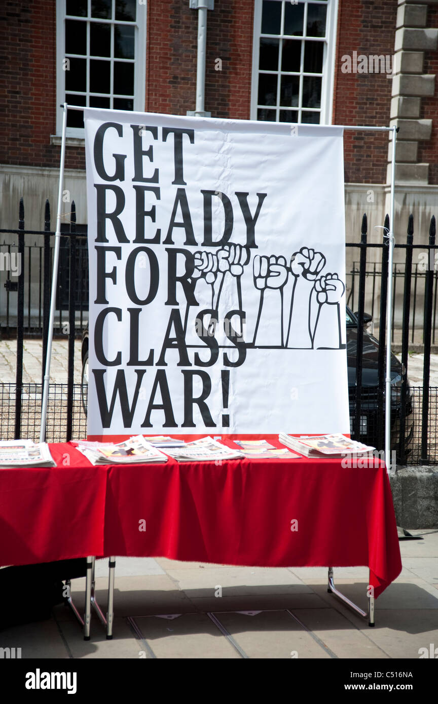One day strike by teachers and civil servants to protest at changes in pensions.June 30th 2011,banner 'Get Ready - Stock Image