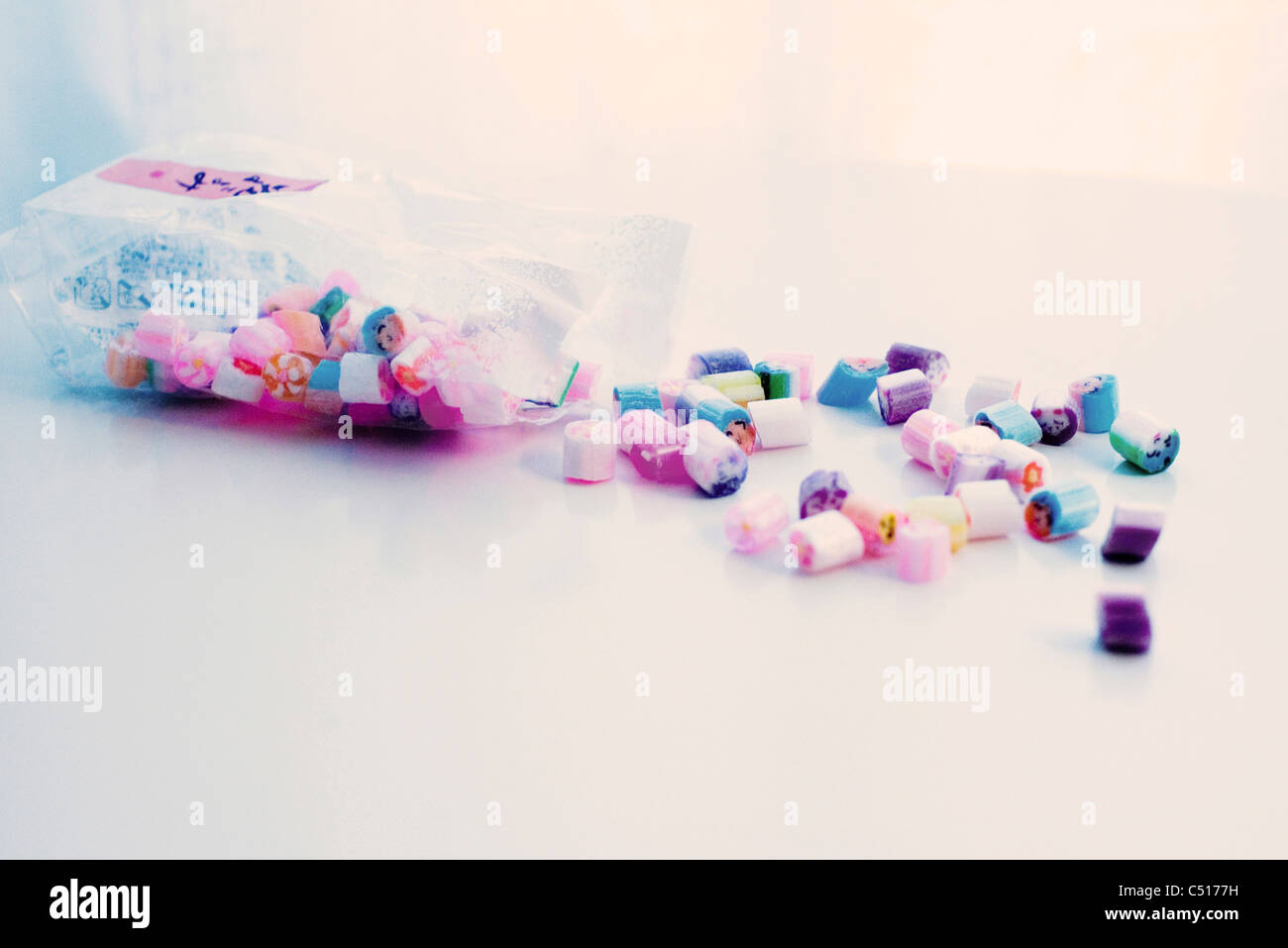 Bag of rock candies - Stock Image