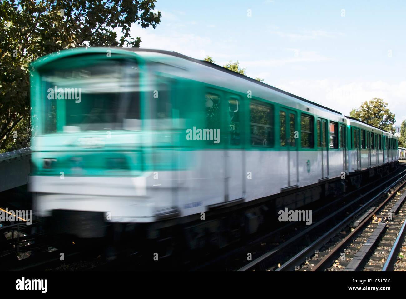 Train running on rail track - Stock Image