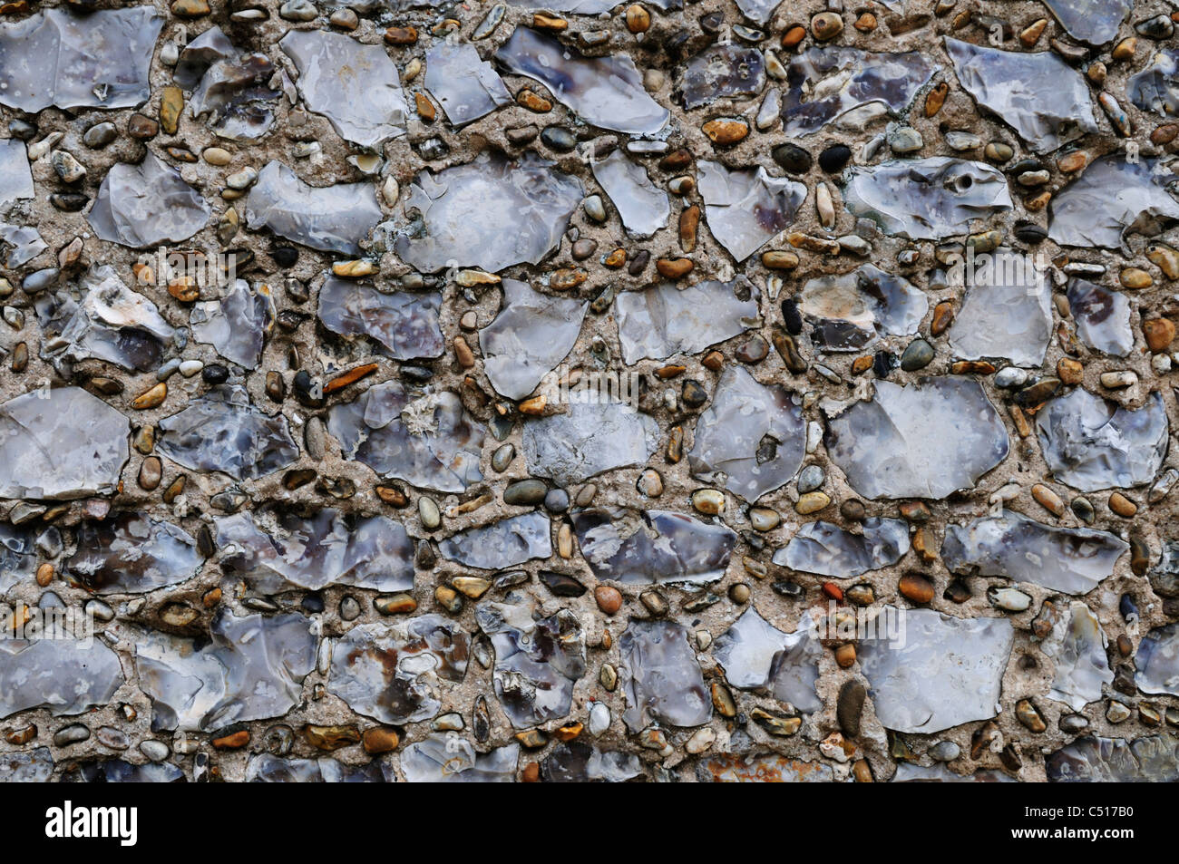 Detail of Flint Cottage Wall, Thornham, Norfolk, England, UK - Stock Image