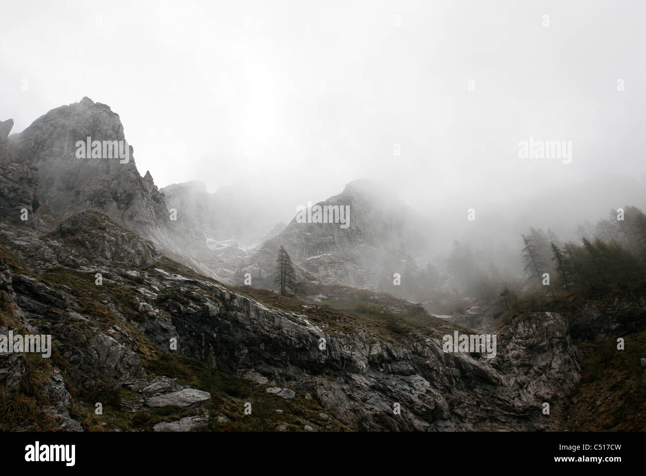 Foggy mountain landscape - Stock Image