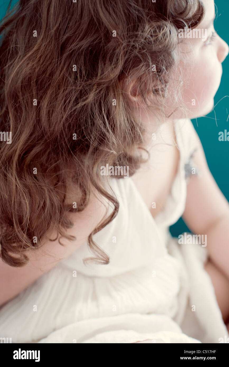 Little girl, side view - Stock Image