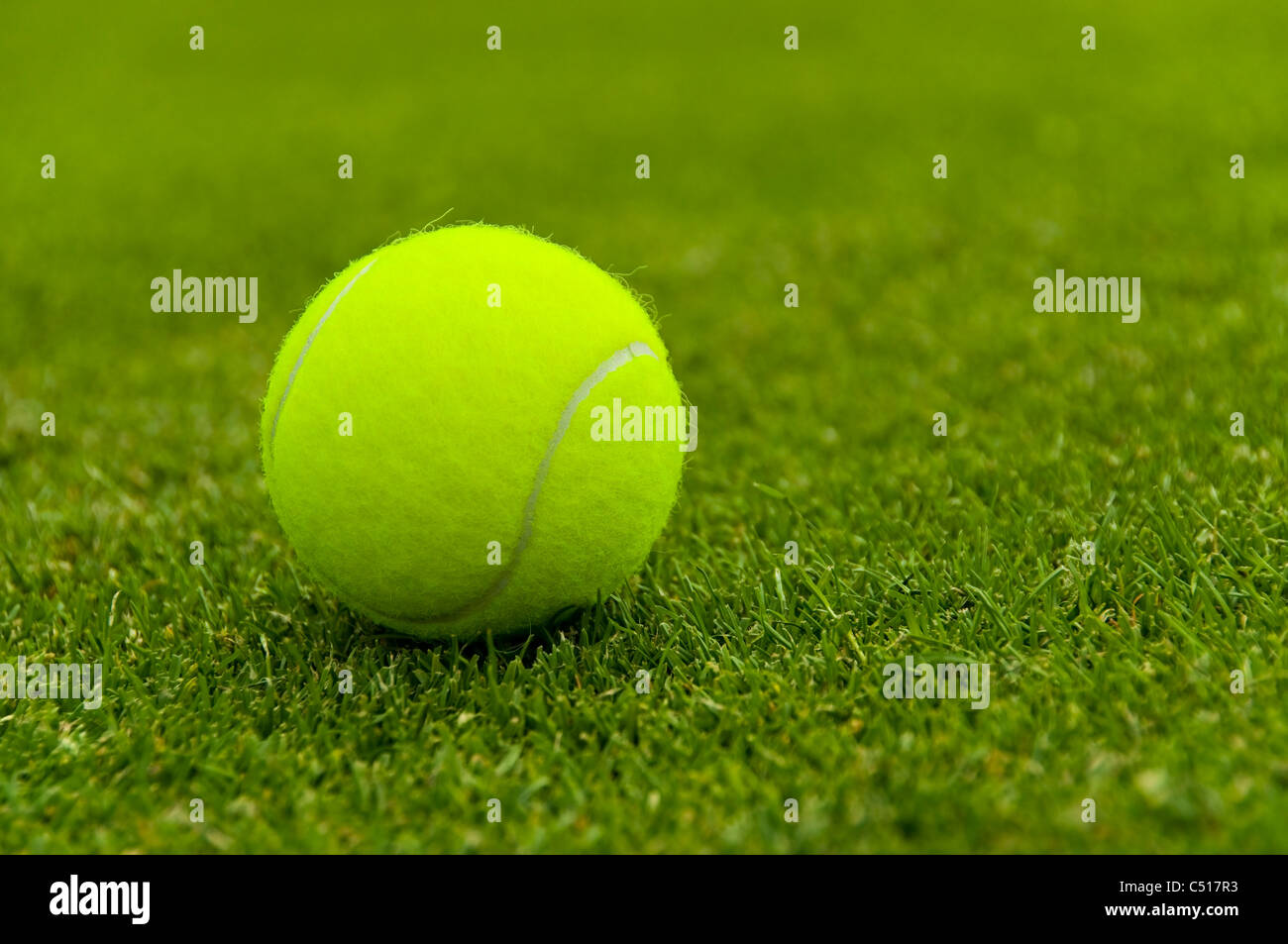 A tennis ball on a lawn tennis court - Stock Image