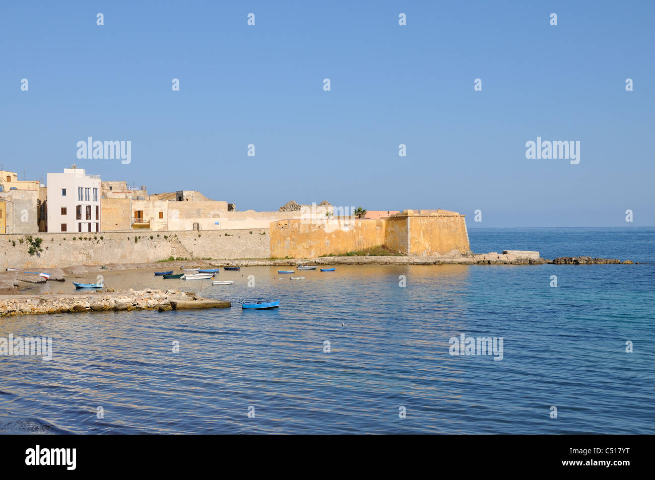 Old Town with Fortification Bastione Conca, Trapani, Sicily, Italy - Stock Image