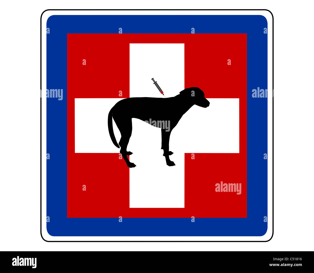 Traffic sign for sick dogs - Stock Image