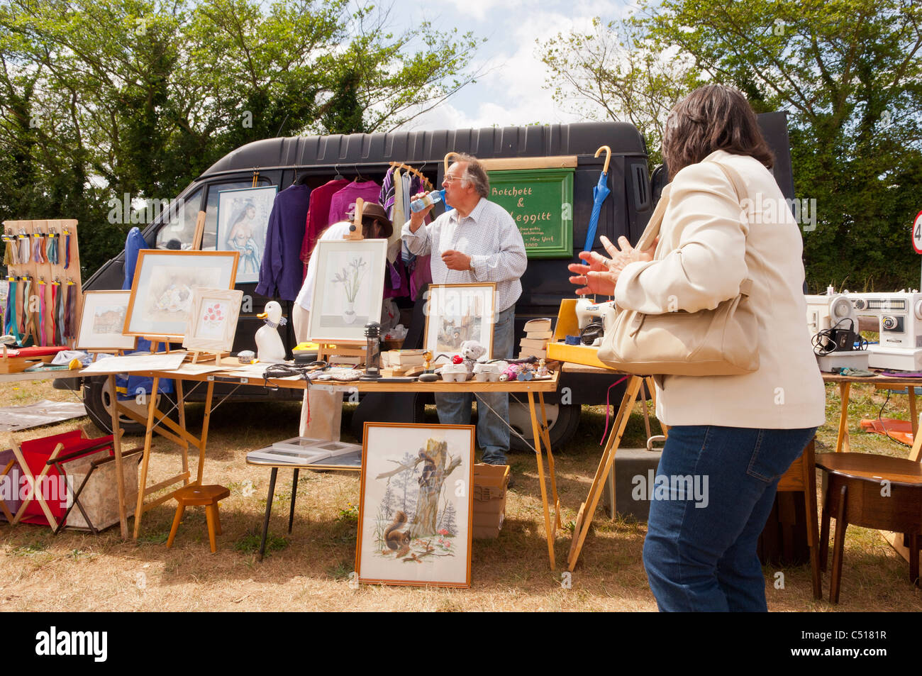 A stall on a car boot sale in Suffolk , England , Britain , Uk - Stock Image