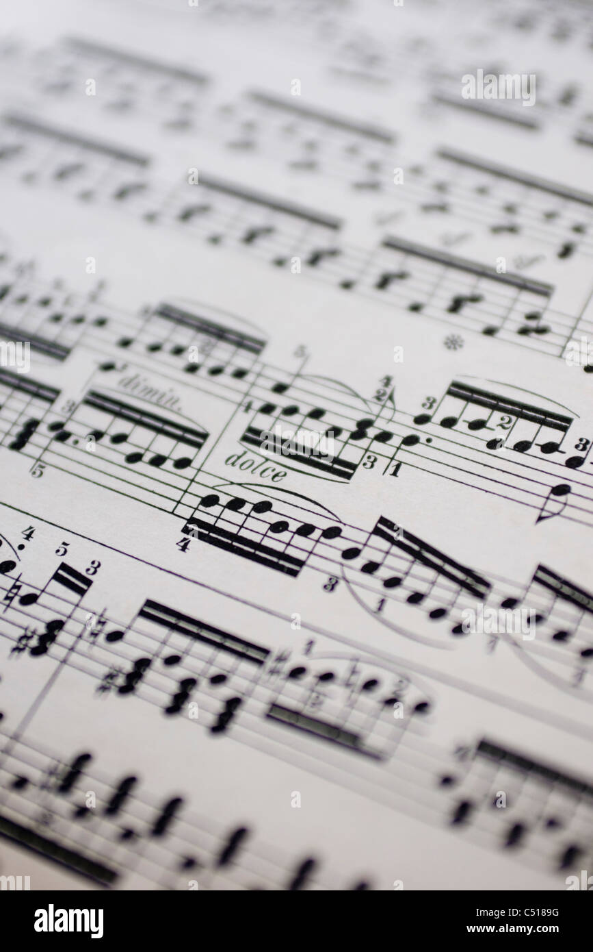 Musical score, close-up - Stock Image