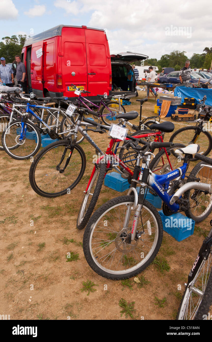 8457a960c61 A used bikes stall selling bicycles on a car boot sale in Suffolk , England  , Britain , Uk
