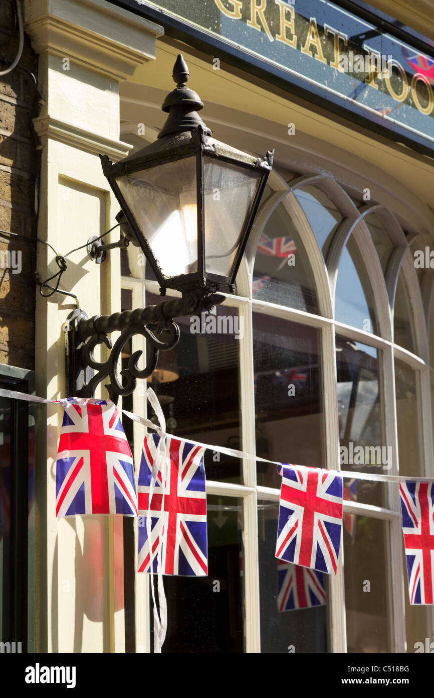Union Jack at London pub - Stock Image