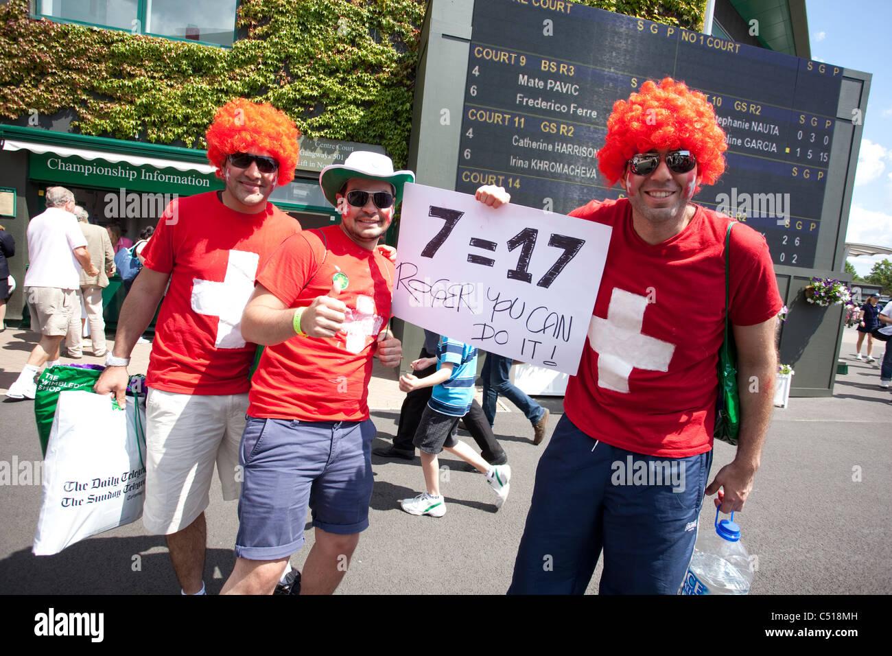 Swiss Roger Federer fans at The Wimbledon Tennis Championships, Wimbledon, London, United Kingdom.Photo:Jeff Gilbert Stock Photo