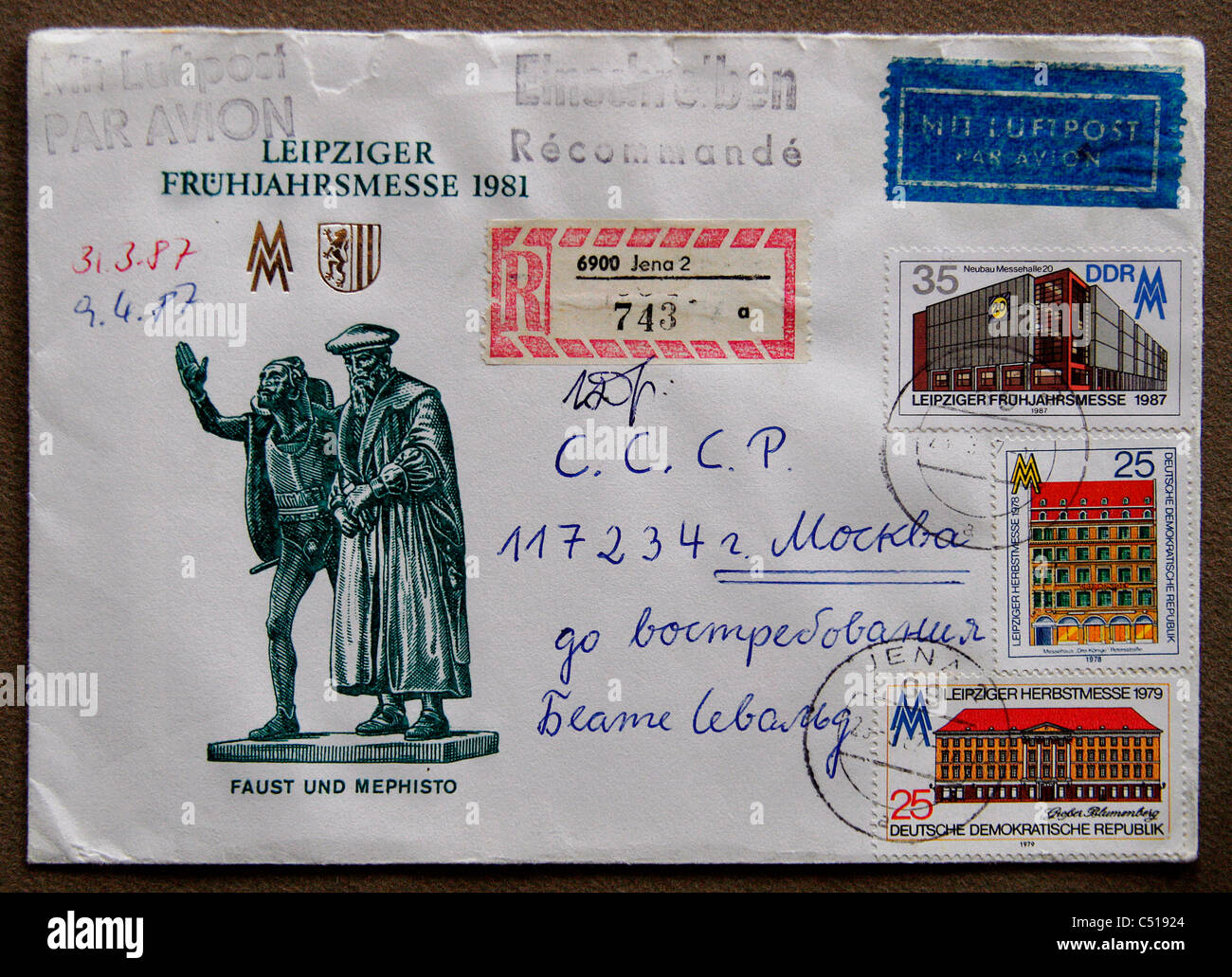 A first day cover / letter from the former GDR representing the fear in the spring 1981 in Leipzig. - Stock Image