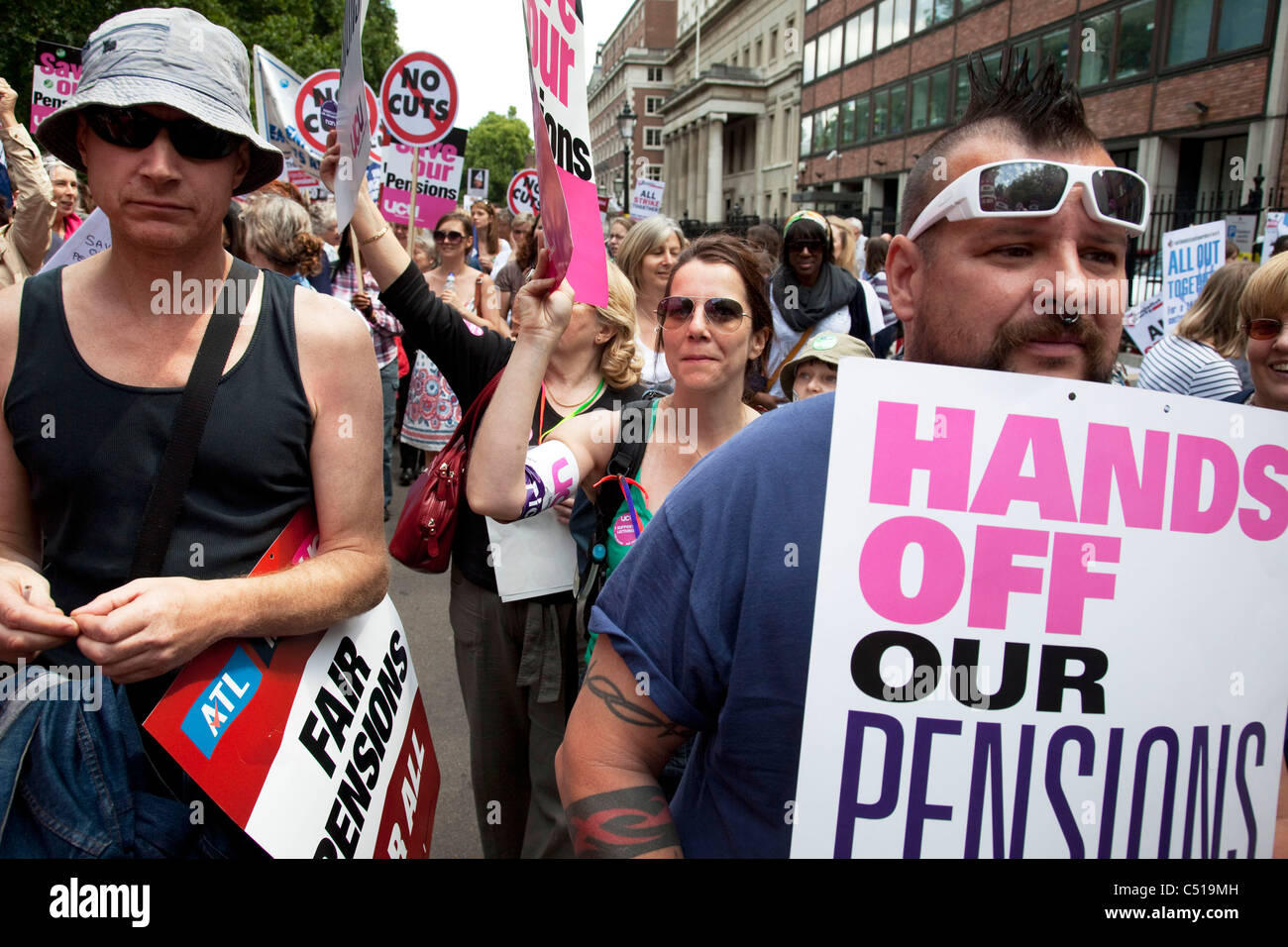 Demonstration in Central London on a day of General Strike action by public sector workers and unions. - Stock Image
