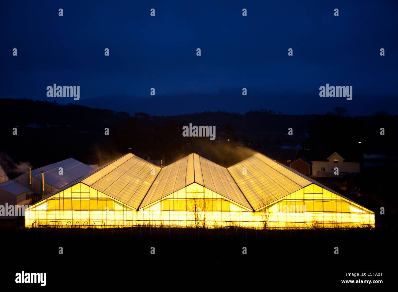 Bright lights glow out from greenhouse with hills in the distant fading away into the sky at nighttime - Stock Image