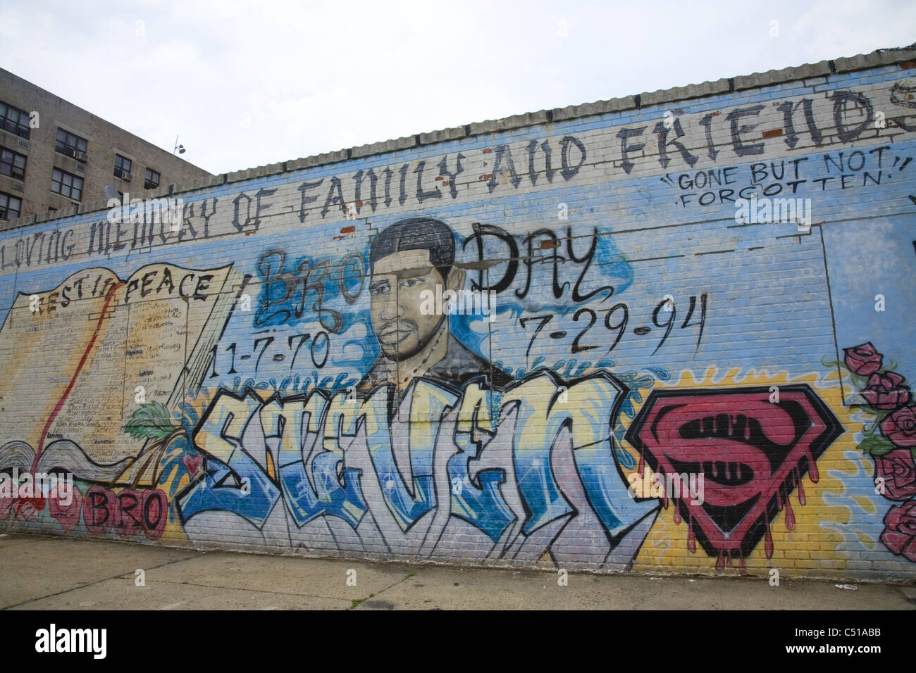 Mural for Steven, a fallen family member, Mermaid Avenue, Coney Island, Brooklyn, New York. - Stock Image