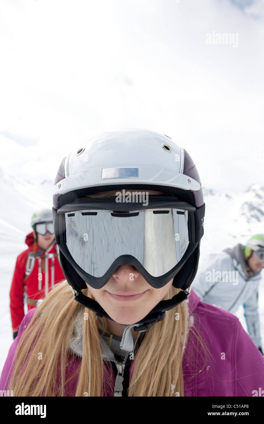 06132bc5436 portrait of woman wearing ski goggles and helmet Stock Photo ...
