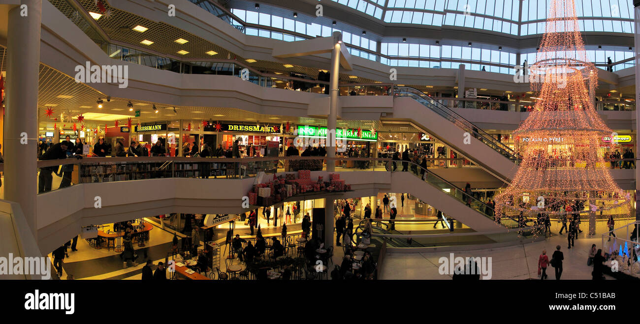 Finland Tampere Christmas decoration shopping center - Stock Image