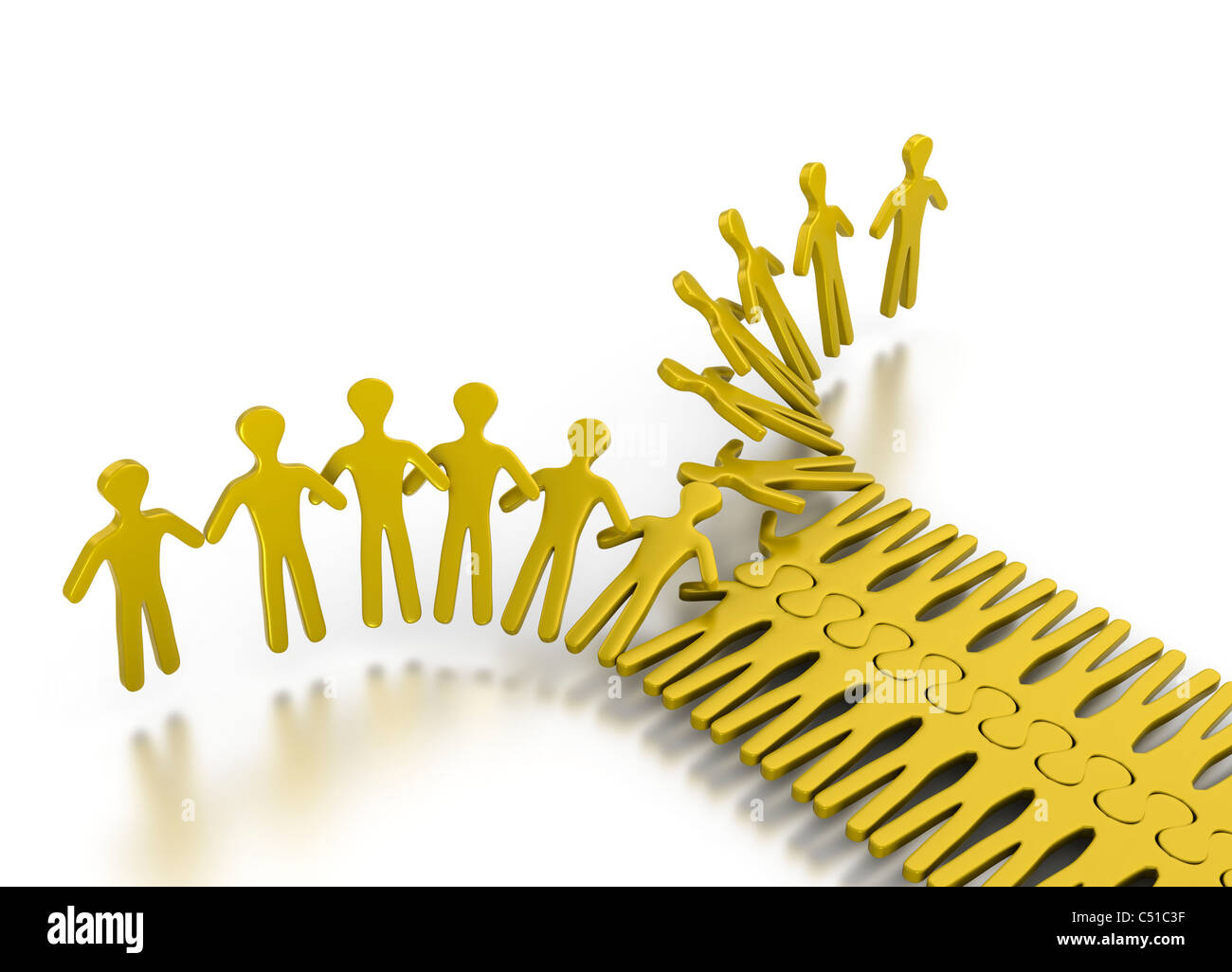 People integrating in an orderly way for strength and teamwork on a white background - Stock Image