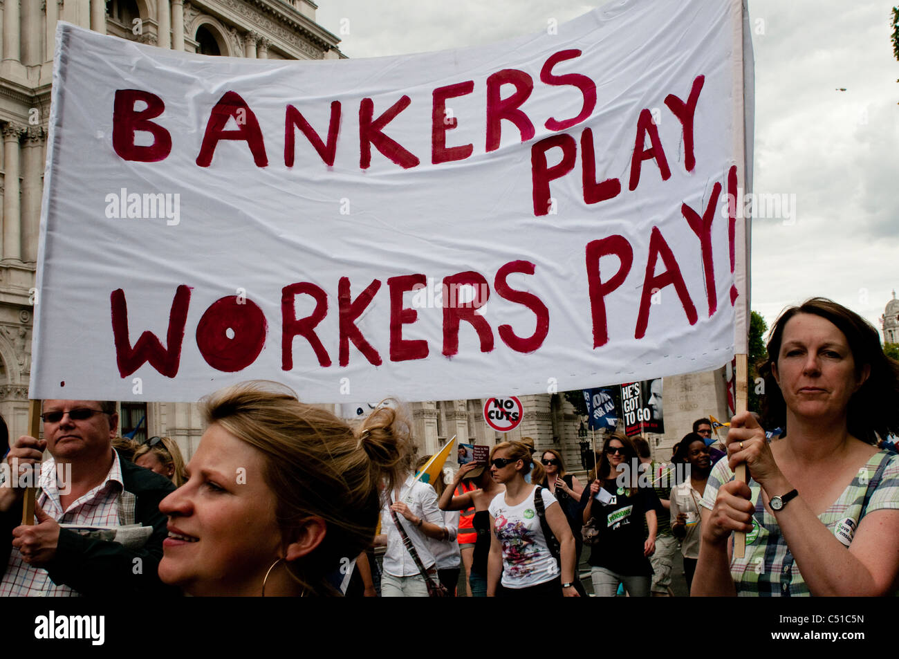 Public sector pensions strike, Whitehall, London, 30/06/2011, UK - Stock Image