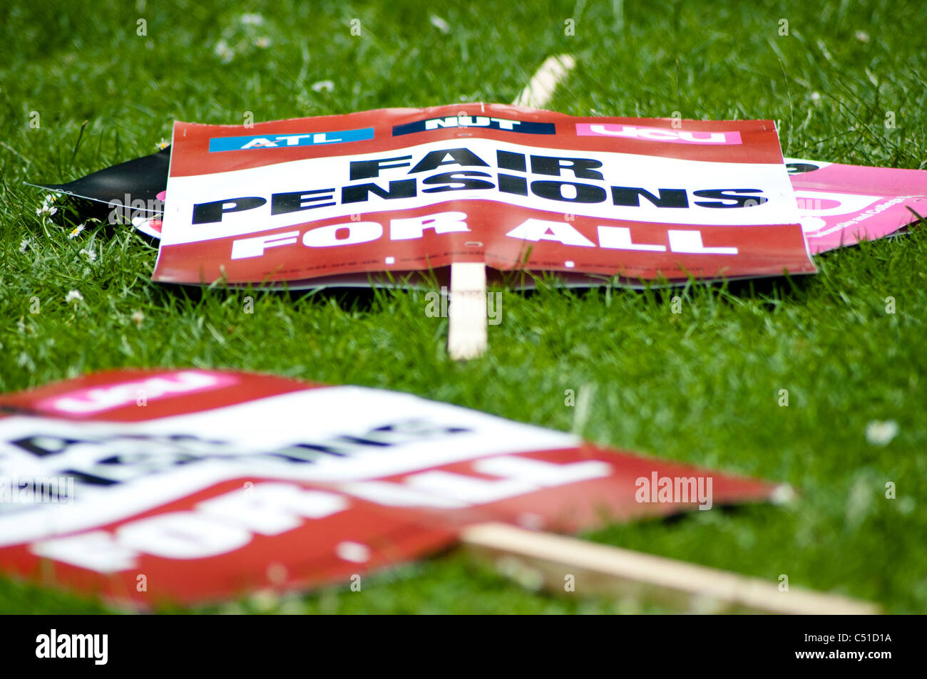 Public sector pensions strike, Placards, London, 30/06/2011, UK - Stock Image