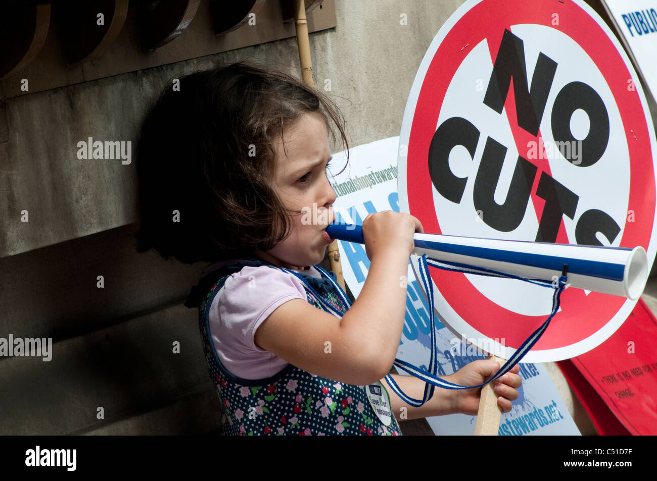 Public sector pensions strike, Placards and little girl, London, 30/06/2011, UK - Stock Image