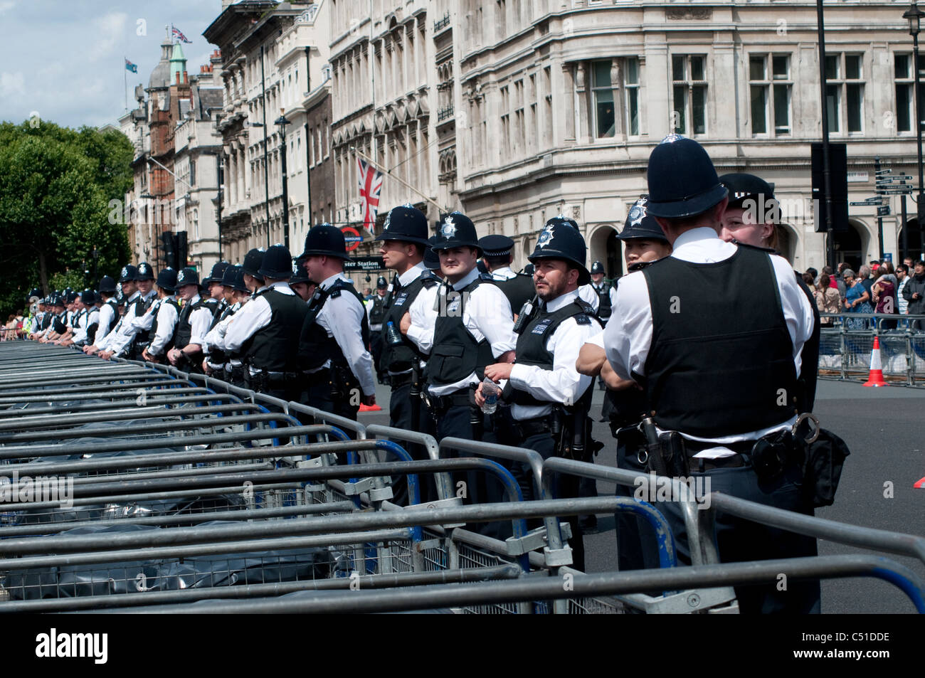 Police line during Public sector pensions strike, London, 30/06/2011, UK - Stock Image