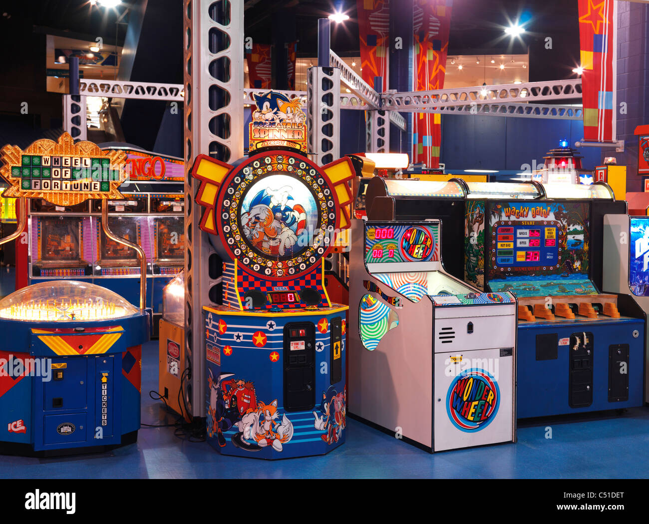 Arcade game machines inside Skylon tower in Niagara Falls, Ontario, Canada. - Stock Image
