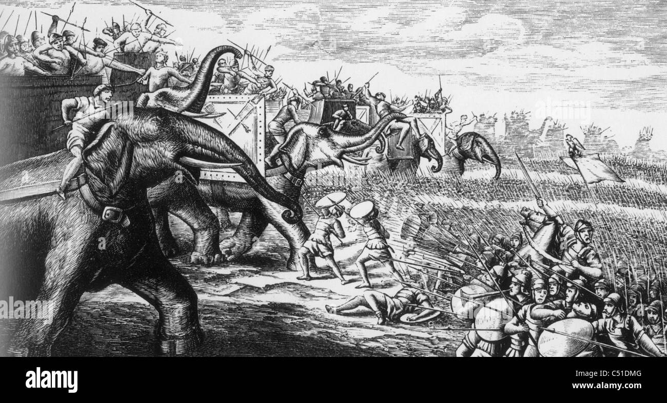 HANNIBAL's elephants attacking Roman Legions during the Punic Wars - Stock Image