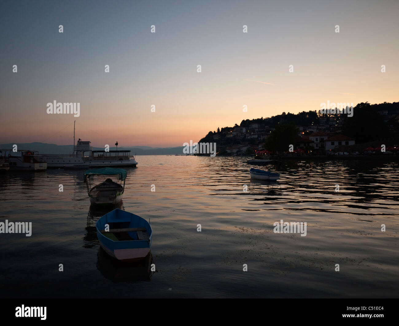 Sunset over the UNESCO heritage site of Ohrid lake and town, Macedonia - Stock Image