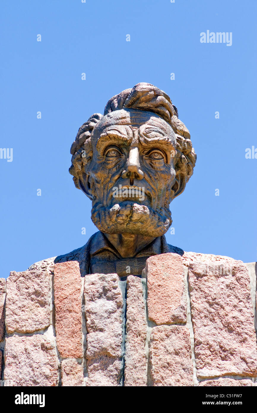 Robert Russi's bronze sculpture of Lincoln's head erected in honor of his 150th birthday on interstate 80 near Laramie, Wyoming. Stock Photo