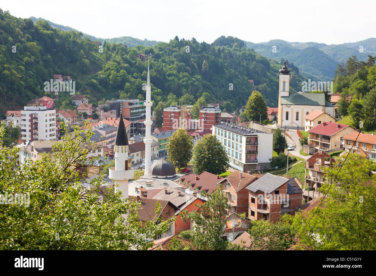 Panorama of Srebrenica - small mountain town and municipality in the east of Bosnia and Herzegovina - Stock Image