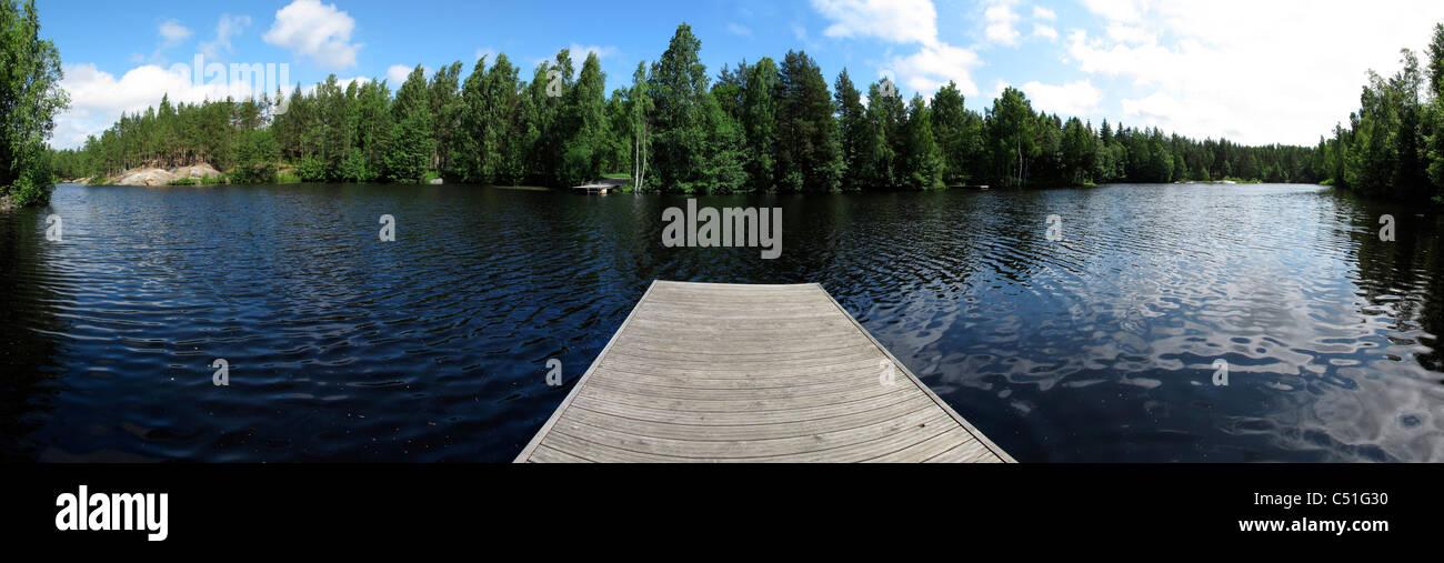 Scandinavia Finland Lake jumping platform - Stock Image