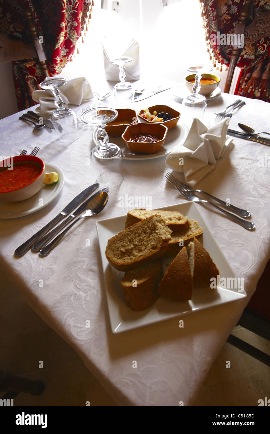 Africa, Tunisia, Kairouan, Restaurant Errachid, Dining Table Setting - Stock Image