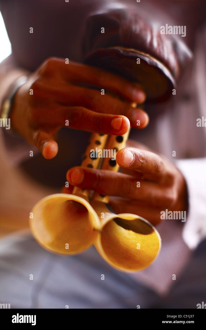 Africa, North Africa, Tunisia, Tamerza Oasis, Musician Playing Traditional Wind Instrument - Stock Image