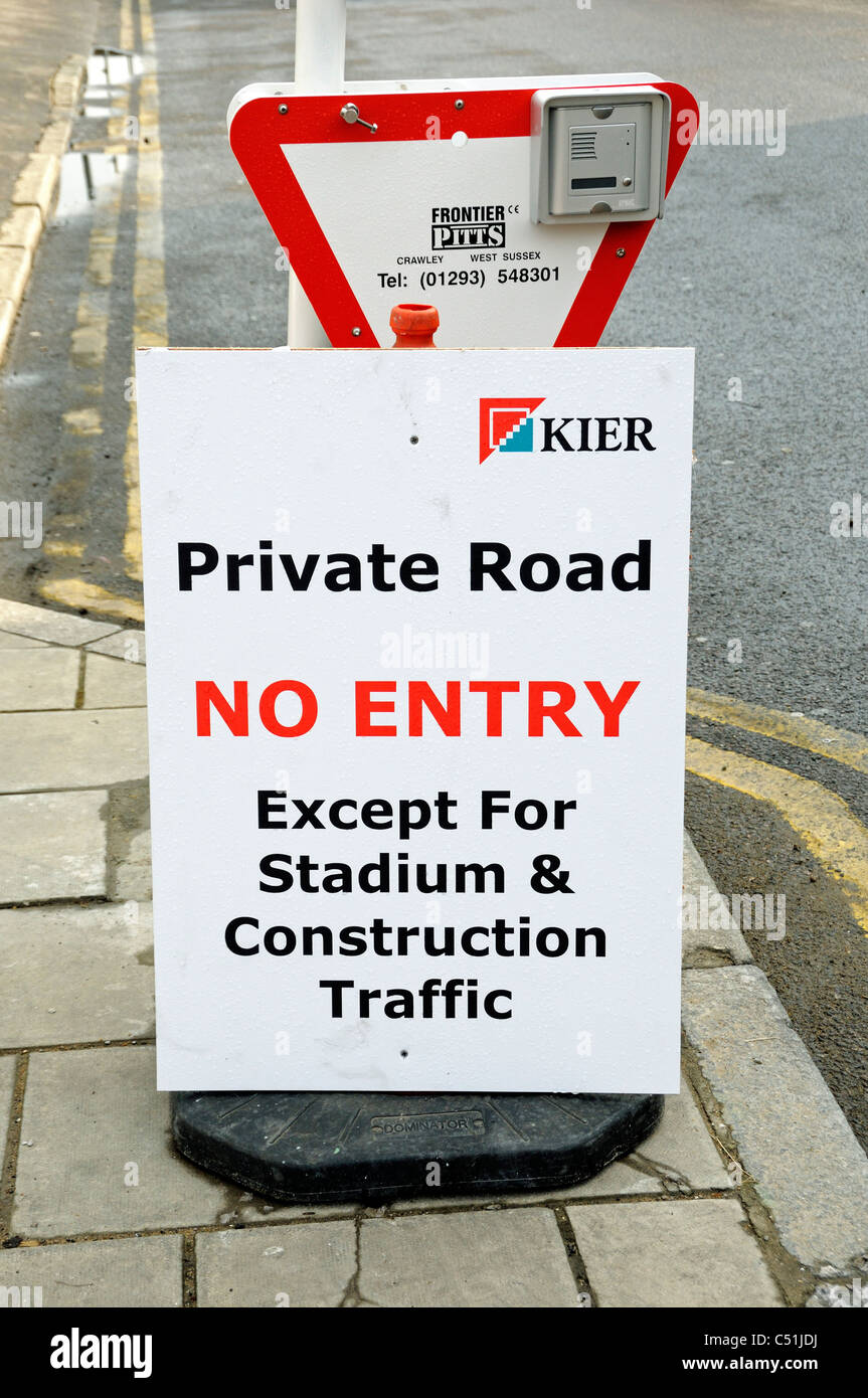 Private road no entry sign at entrance to construction site adjacent to the Emerites Stadium holloway London Eangland - Stock Image