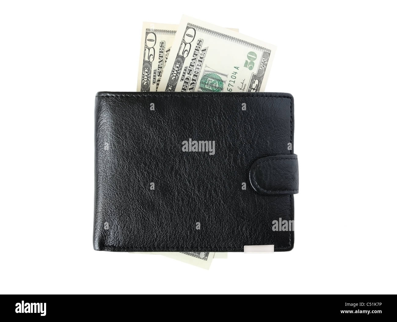 Black purse and two bills of fifty dollars  on a white background - Stock Image