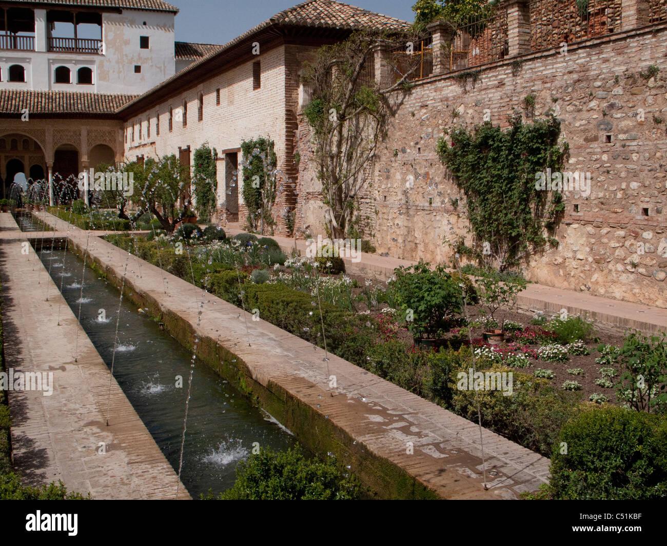 Granada Spain Alhambra Palace Generalife Garden Water Fountain Patio De La  Azequia