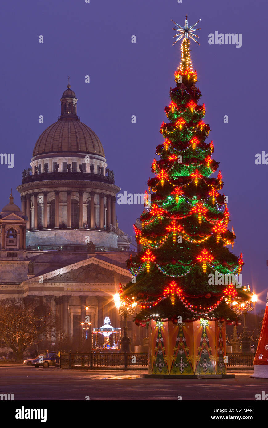 Russia. St. Petersburg. Christmas tree. St. Isaac's ...