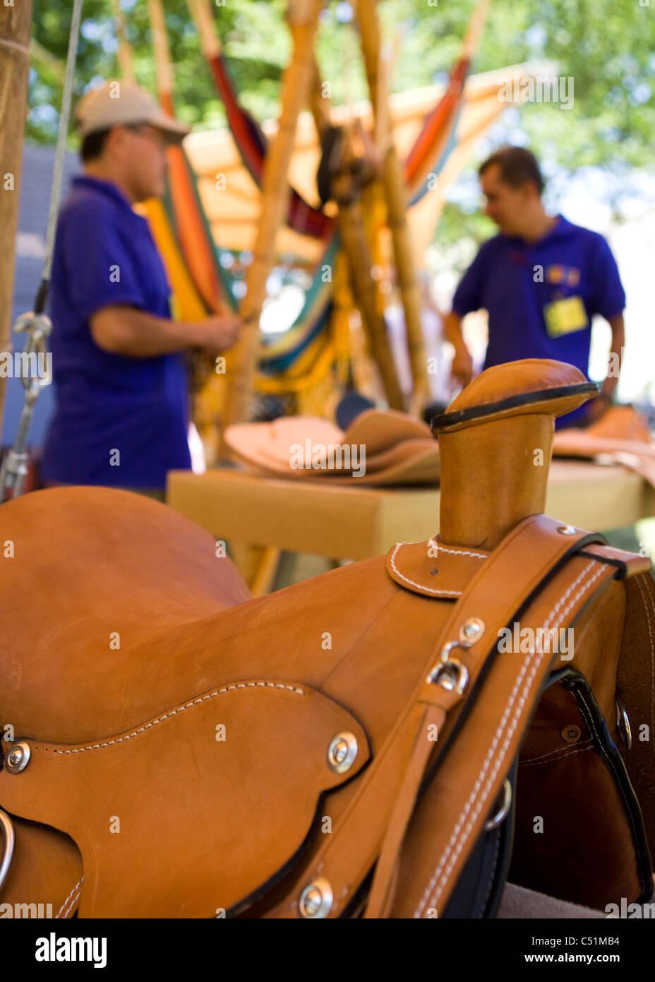 Closeup detail of western horse saddle - USA Stock Photo