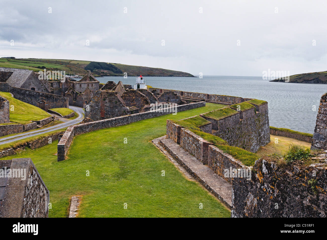 High Angle View of Fort Charles in Kinsale Harbor, County Cork, Ireland - Stock Image